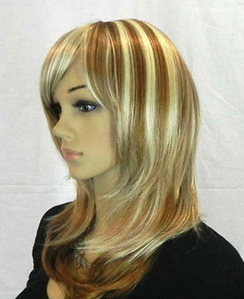 WBY nouvelle longue Vogue Blonde Fashion perruque de cheveux ondulés + chapeau de perruques