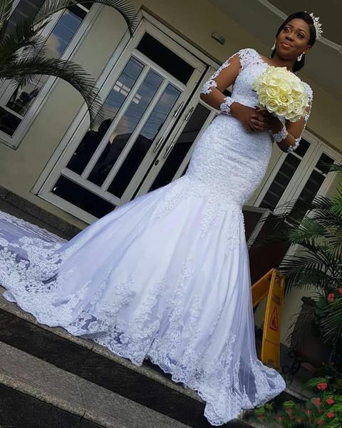 Lace Vintage Vestidos de Casamento Da Sereia 2019 Com Manga Longa Applique Africano Botões Ilusão Voltar Varredura Trem Vestido De Noiva robe de mariee