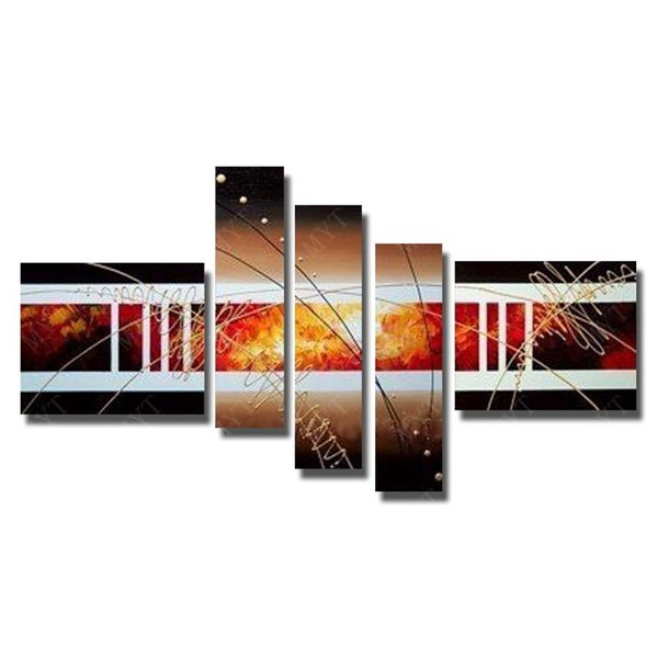 Hot Sale Landscape Design 5 Peices Abstract Modern Knife Painting Living Room Wall Decor Canvas Pictures No Framed