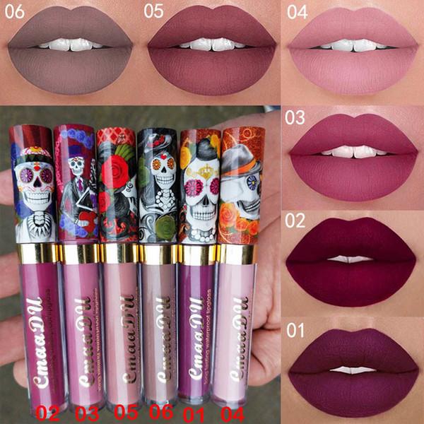 Novas mulheres da moda 6 cores de metal fosco crânio perolado único brilho labial maquiagem batons com caixa frete grátis