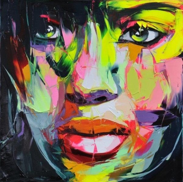 Francoise Nielly Palette Knife Impression Home Artworks Modern Portrait Handmade Oil Painting on Canvas Concave and Convex Texture Face012