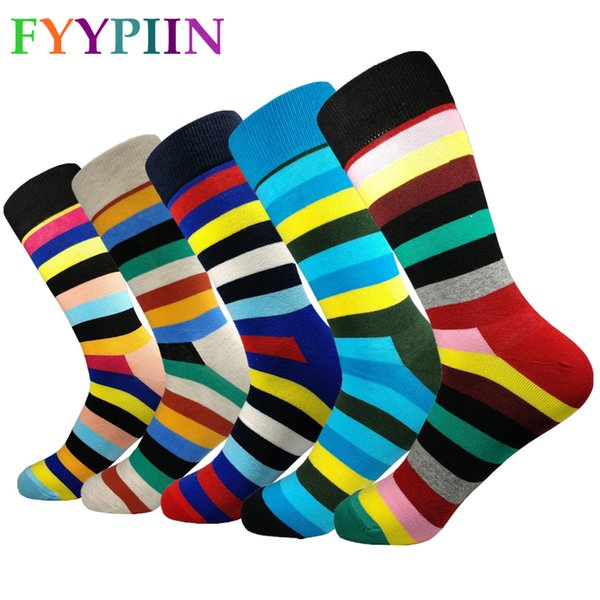 Men Socks Standard Fashion 2019 Men's Leisure High-quality Striped socks Latest Lengthen Increase Happy New Color Cotton Socks T190918