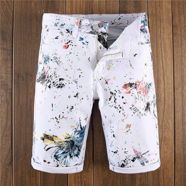 New Style Fashion Personality Printing Mens Slim Fit Denim Shorts Jeans 2019 Mens Regular Work Casual Short Pants Plus Size B1