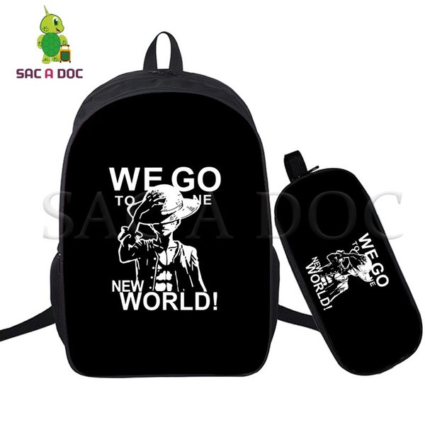 Anime One Piece 2 Pcs/set Laptop Backpack School Bags for Teenagers Students Daily Backpack Luffy Law Fans Travel Bags