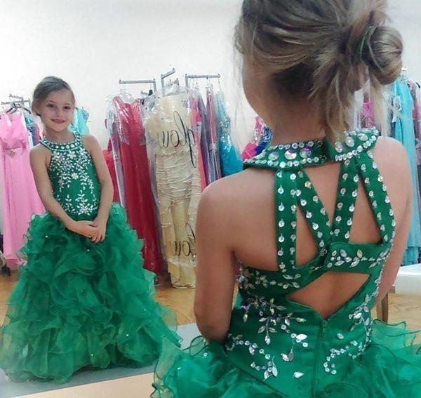 Cute Emerald Green Girls Pageant Dress Princess Puffy Skirt Children Toddler Party Prom Ball Gown Short Pretty For Little Kid
