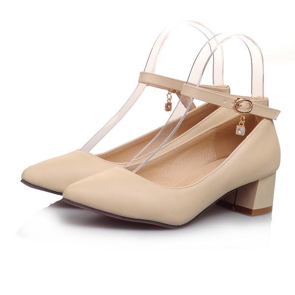 Sıcak Bayan Bayanlar Kare Orta Topuk Sivri Toes Toka Askı Ayakkabı Boyutu Pompalar FS-S1033 ABD İNGILTERE EUR Boyutu Özelleştirilmiş