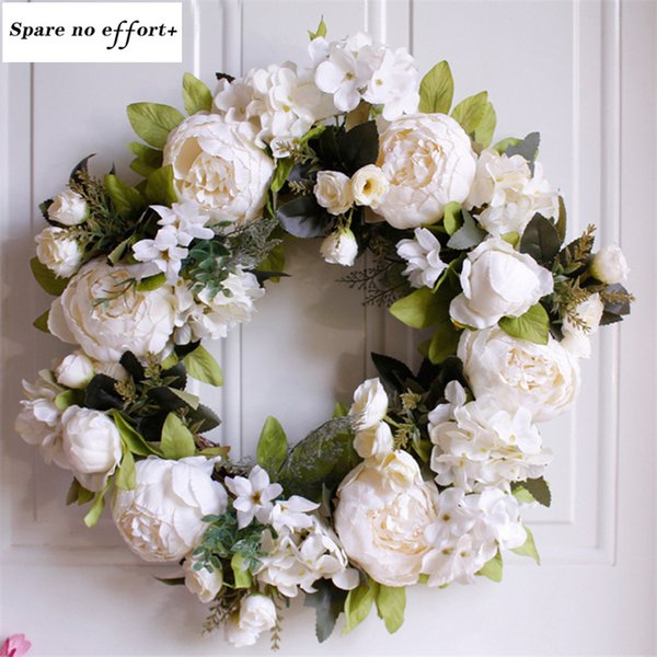 Free Shipping Door Decoration 40CM Christmas garland White Peony Diy Christmas Wreath Material