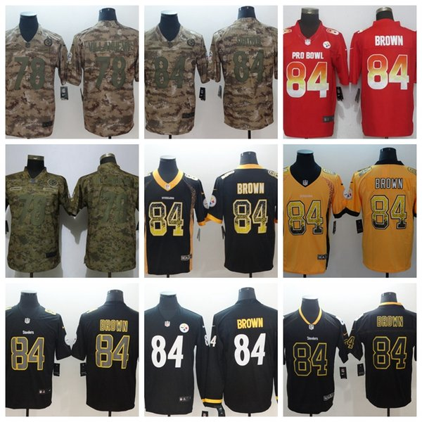 buy popular d198c 2ab54 2019 Steelers Pittsburgh 84 Brown 78 Villandeva Lights Out Black Color Rush  Limited Football Jerseys Salute Version Jersey Player From Hugh04, $25.39  ...