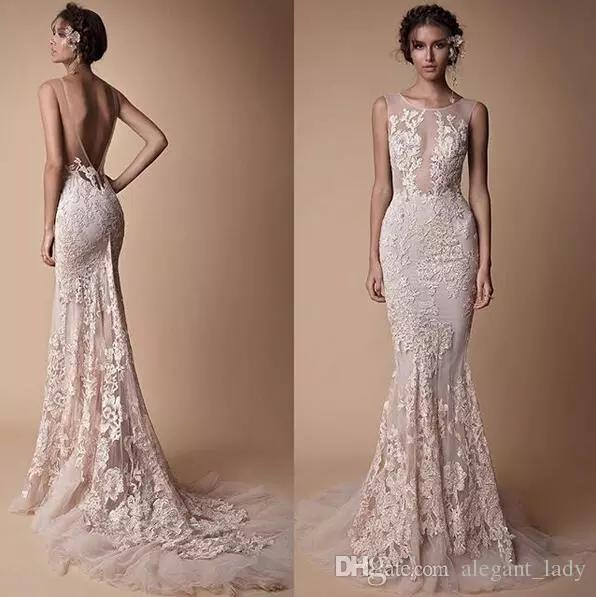 Berta Lace Applique Mermaid Evening Dresses Wear 2018 Sheer Neck Backless Full length Custom Make Fishtail Prom Pageant Gowns Cheap