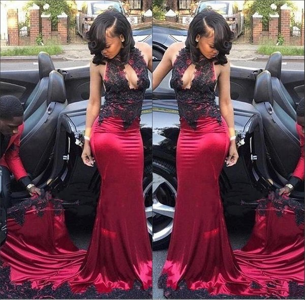 African Halter Mermaid Evening Dresses Long Train New 2019 Sexy Keyhole Black Lace Appliqued Silk Satin Trumpet Prom Party Wear Plus Size