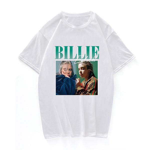 T-Shirts Billie Eilish Print der 90er Jahre Vintage schwarzes T-Shirt T-Shirt Männer / Frauen Tops Tee Baumwolle lässig schwarz Street Clothing