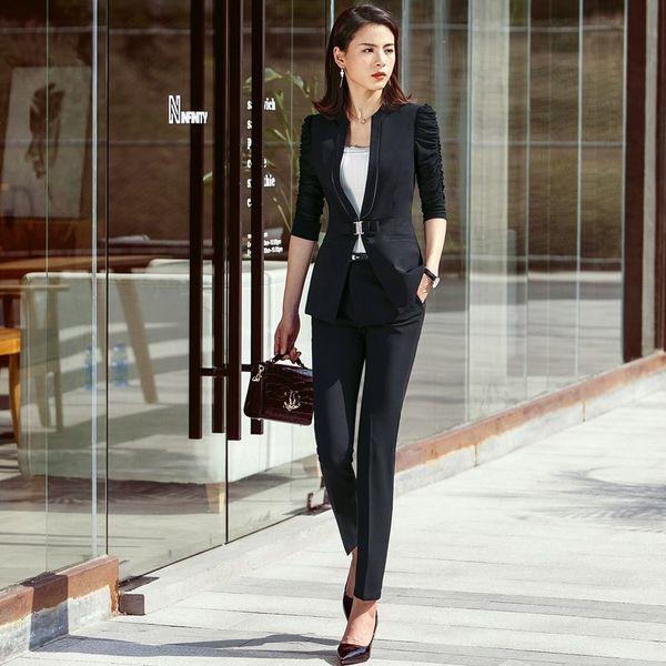 Fashion Office Ladies Pant Suits for Women Business Suit Black Blazer and Jacket Set Work Wear Uniforms OL Style