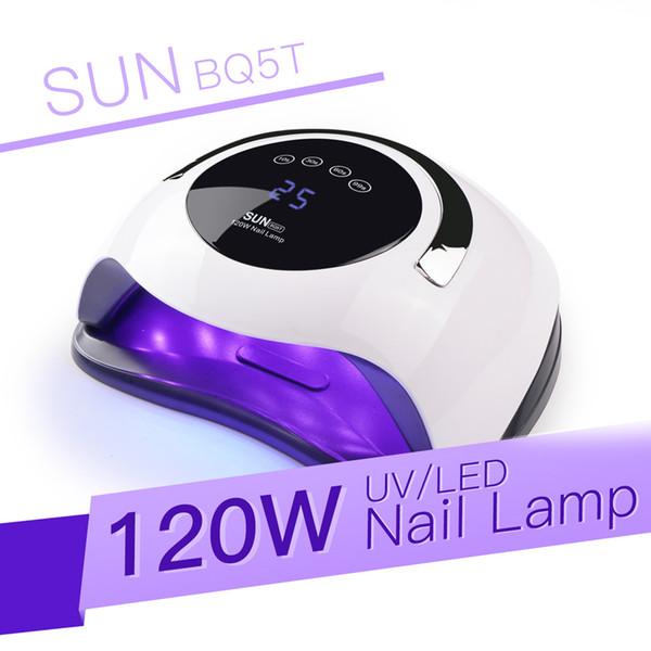 SUN BQ5T Portable 120W Hight puissance ongles Dryer rapide Durcissement Gel ongles lampe LED UV lumière Smart Sensor 10s 30s 60s 99s Manucure minuterie machine