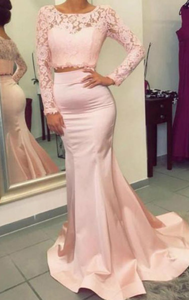 Modern Pink Two Pieces Cheap Evening Dresses Formal Gowns Mermaid Jewel Neck Lace Satin Sweep Train Cheap Homecoming Prom party Dress