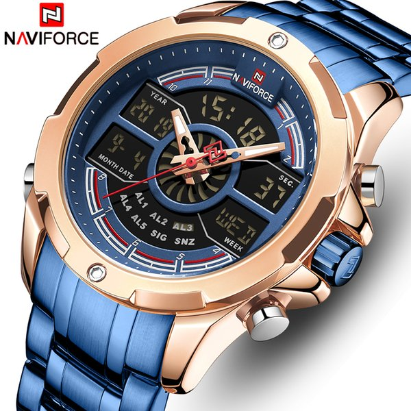 NAVIFORCE Montres Hommes Luxe Marque Hommes Sport Quartz Bleu Montre Homme en acier inoxydable Horloge numérique étanche Relogio Masculino LY191216