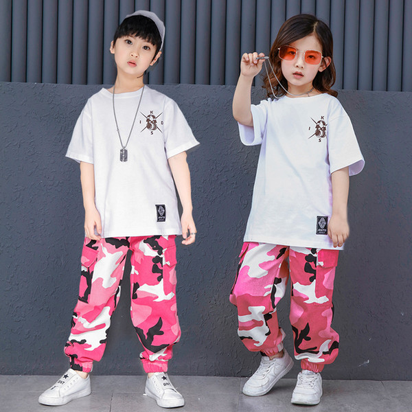 Pink Camouflage Ballroom Hip Hop Dance Clothing Children Jazz Hiphop Street Dance Costume T-shirt Pants Suit for Kids Boys Girls