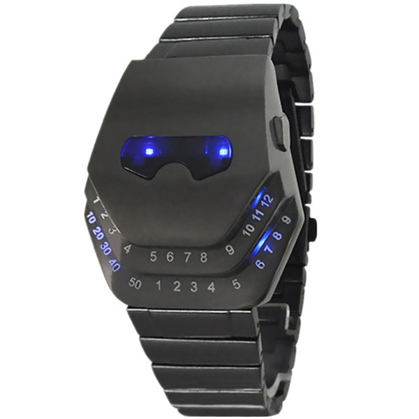 Fashion double eye snake head Iron Man digital Watch Snake Head Watch Steel Belt Electronic Watch Europe and America Watches Wholesale