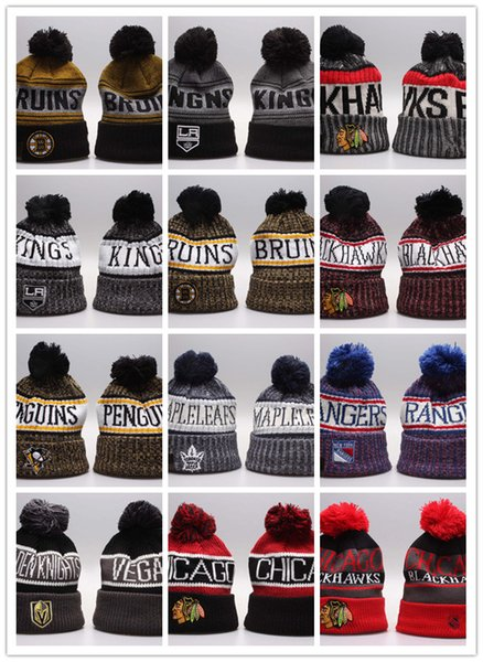 2019 Newest Winter Beanie Knitted Hats Sports Teams Baseball Football Basketball Beanies Caps Women& Men Pom Fashion Winter Top Caps