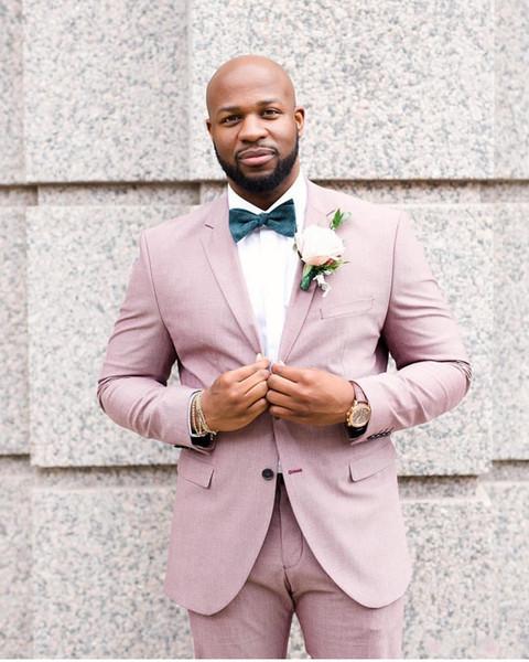 Pink Groom Tuxedos Groomsmen Notch Lapel Mejor traje de hombre de la boda de los hombres trajes de chaqueta por encargo (chaqueta + pantalones) d60
