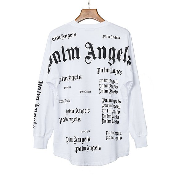 2019 T-shirt Palm Angels Bianco Nero Lettere Stampa T-shirt estiva Uomo Donna T-shirt in cotone oversize Hip Hop Street Top