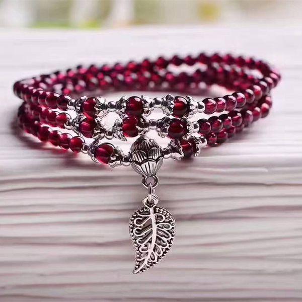 Großhandel Weinrot Granat Naturstein Armbänder Perlen Tibetischen Silber Blatt Anhänger Frauen Schönheit Armband Mehrschichtigen Schmuck Y19051002