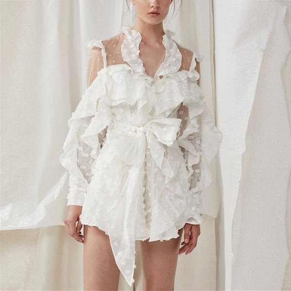 Summer Lace Up Dot Jumpsuit Women Long Sleeve Bow Bandages Perspective Shorts Sexy Women Clothes 2019 Fashion New