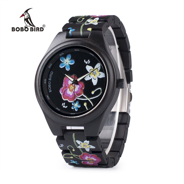 Bobo Bird Wp06 Fashion Colorful Print Wood Watch For Men Women Newest Imitate Embroidery Brand Design Quartz Watches As Gift J 190505