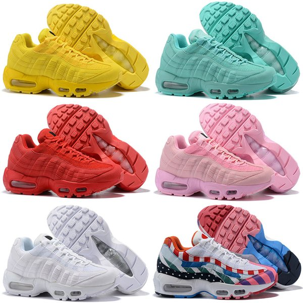 pretty nice 22a72 ffbd0 Womens Running Shoes Classic 95 Sneakers 2019 Grass Green Yellow Pink White  95s Womens Jogging Maxes Sports Shoes Size 5.5 8.5 Best Running Shoes For  ...