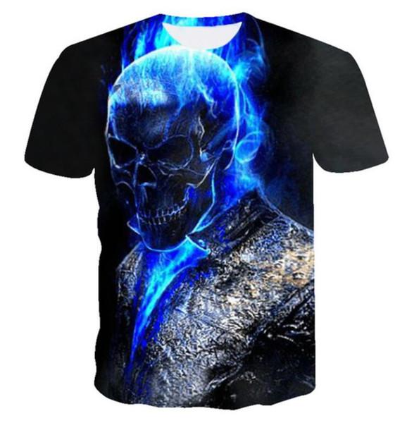 New Fashion Couples Men /Women Unisex Funny 3D Print Blue Fire Skull Casual T-Shirts QW193