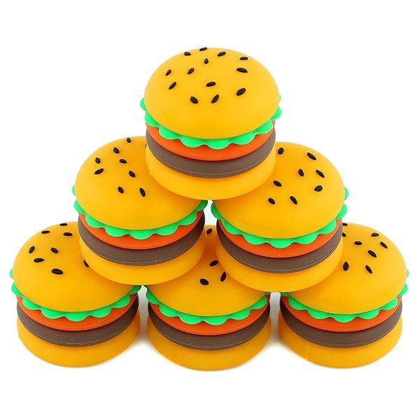 Contenants de cire antiadhésifs boîte de hamburger en silicone contenant de silicium de qualité alimentaire contenant du silicium 5ml contenant de l'huile pour vaporisateur vape dab