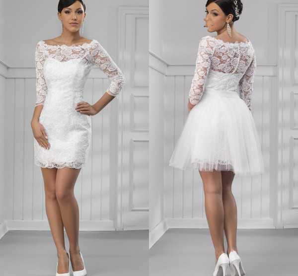 Discount New Arrival Short Cheap Wedding Reception Dresses White With Detachable Skirt Scoop Neck With Sleeves Lace Wedding Dress Bridal Gowns New