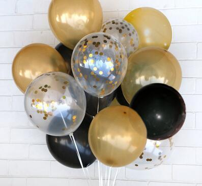 12inch Confetti Balloon 50pcs Gold Black Latex Balloon Holiday Parties Wedding Decorations Air Balls Kid Birthday Party Supplies
