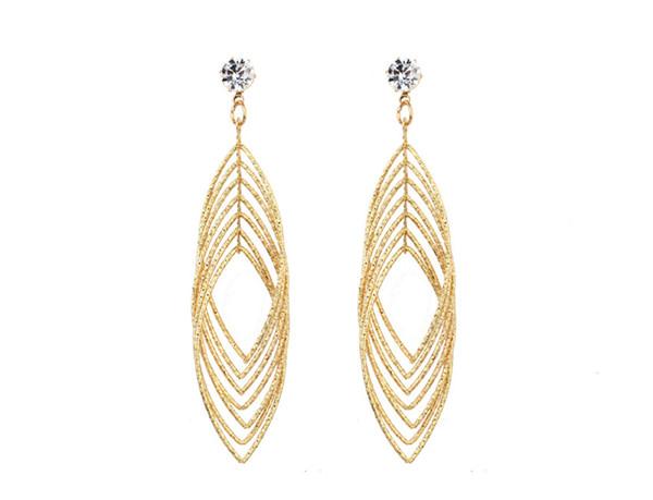 Dangle Stud Earring Double Linear Loops Design Hollow Out Leaf Shaped Dangle Stud Earring