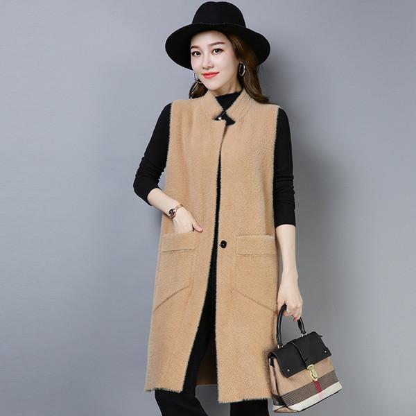 brand women's long commuter vest coat 2018 autumn winter new solid color stand-collar vest coat waistcoat female