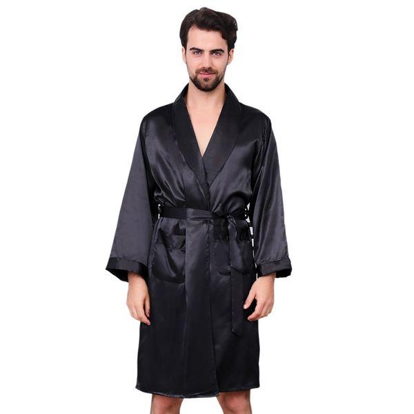 mens dressing gown Man Single Paper Silk Robe Thin Section Long Sleeve Pajamas Enlarge Code Pure Black Bathrobe men