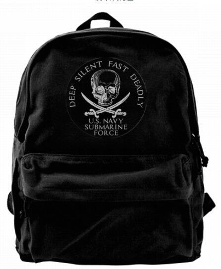 Round US Navy Submarine Force Deep Silent Fast Deadly Canvas designer backpack For Men & Women Teens College Travel Daypack Leisure bag