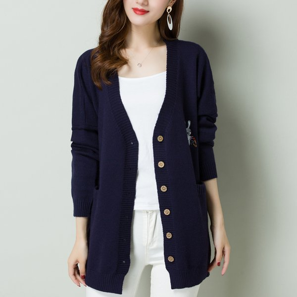 Harajuku Loose coat sweater Knit Kawaii rabbit Cardigan Jackets Japan Preppy Style Long Sleeve Sweaters korean Clothes Mori Girl