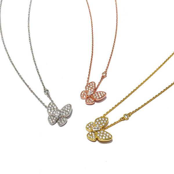 Donne Diamante Farfalla Ciondolo Girocollo Collane Set di gioielli di marca da sposa Designer di regali Collana in oro Collana regalo per feste