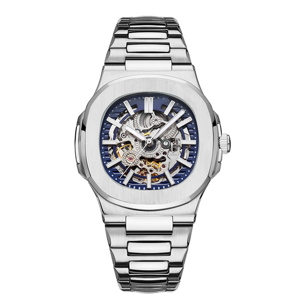 2019 TOP Mens Relojes Automáticos Diseñador Moderno Mecánico Ahuecando Acero Moda Nautilus Reloj Negocios Casual Relojes de pulsera