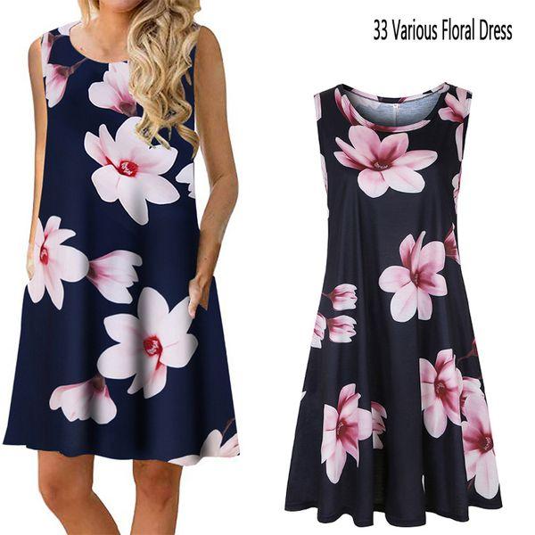 Floral Retro Pattern Dress Women Boho Summer Party Travel Dresses Art Print Mini Sleeveless Sundress Streetwear Fashion Ladies