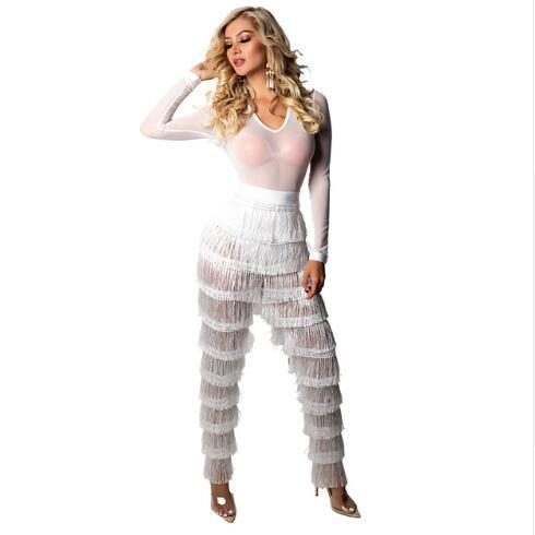 Chaude Populaire Blanc Barboteuses Femmes Combinaison Plissée Gland Sexy Novetly Bandage Jumpsuit Salopette