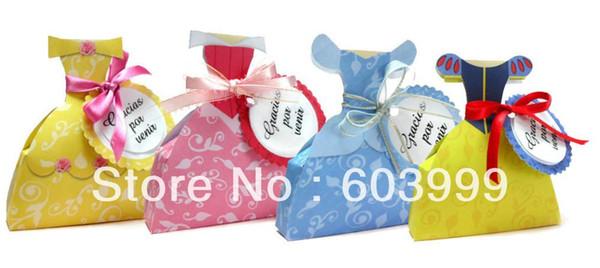 Großhandels-Freies Verschiffen, 100 x 4 Design Prinzessin Party Supplies Party-Bevorzugungen Taschen Prinzessin Kleid Boxes Kleid Favor Boxes Treat Box Geschenk-Box