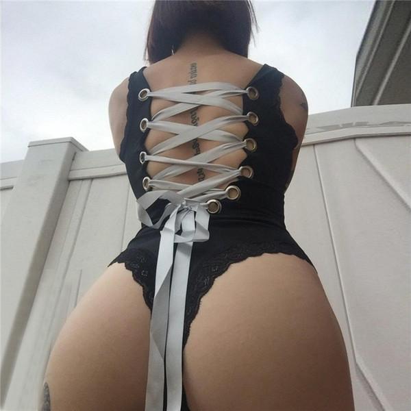 Ruban À Lacets Retour Femmes Sexy Body Tops En Dentelle Splicing Sans Manches Mince Romper Serré Sexy Dos Nu Club Tops Combinaison