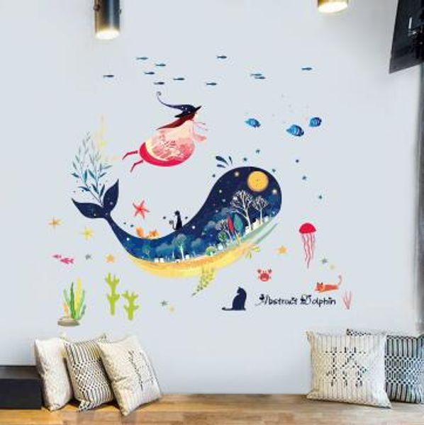 Denizaltı Balina Hayvan Duvar Sticker Çocuk Odaları Için Bebek Kız Yatak Odası Banyo Karoları Duvar Çıkartmaları Mural DIY Ev Dekor