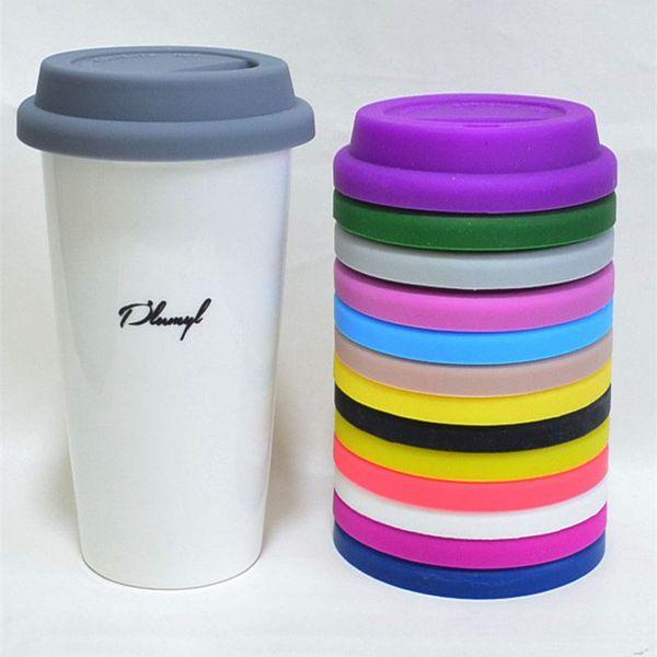 Tapa 9 cm Copa universal de la Copa Tapa Café Leche Taza de la cubierta de silicona anti-polvo de cristal de la taza de la cubierta MMA2556