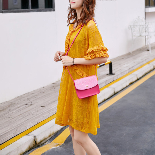 Cheap Sequins luxury brand bag girls bag Women Pearl Cover Crossbody Messenger Shoulder Coin Bag carteras de cuero genuino para mujer