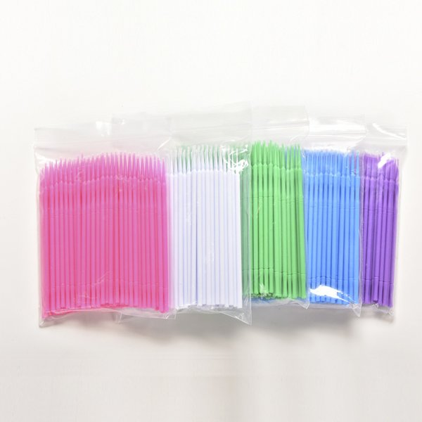 New 100 Pcs/pack Hot Sale Microbrush New False Eyelash Extension Round Cotton Stick Makeup Remover C19030201