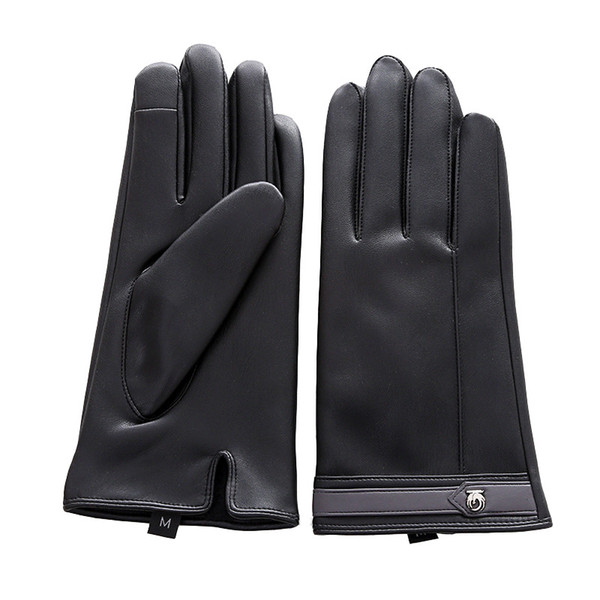 The year of 2019 women Warm and velvet thick winter warm gloves ladies touch screen leather PU points cotton gloves