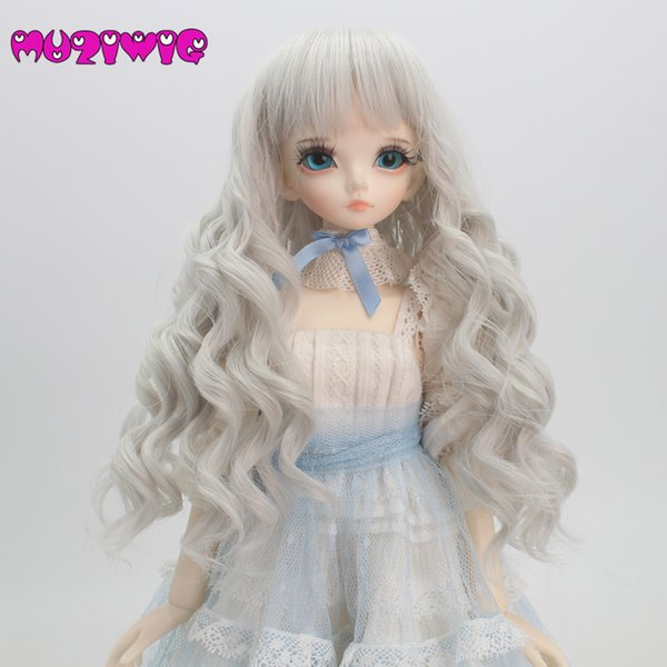 wholesale White Grey Bjd Wig 1/3 1/4 1/6 High-temperature Fiber Synthetic Girl Long Curls Hair Doll Wig with Bangs