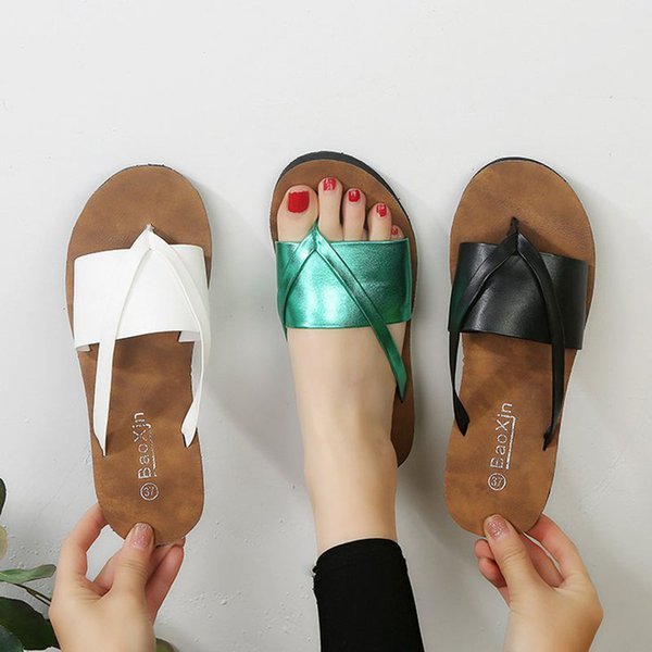 2019 Women New Summer Slippers Bling Flats with Rubber Flip Flops Mujer Causal Slide Outside Size 36-41 XWT1515
